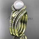 Pearl Double Rings Wedding Set 14kt yellow Gold Diamond Leaf Engagement Ring AP317S