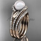 Pearl Double Rings Wedding Set 14kt rose Gold Diamond Leaf Engagement Ring AP317S