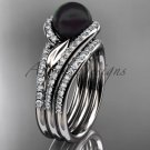 Black Pearl Double Rings Wedding Set 14kt White Gold Diamond Leaf Engagement Ring ABP317S
