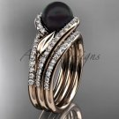 Black Pearl Double Rings Wedding Set 14kt Rose Gold Diamond Leaf Engagement Ring ABP317S