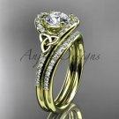 Diamond celtic trinity knot wedding Set, 14kt yellow gold irish engagement ring CT7317S