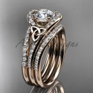 Irish celtic wedding ring Set, 14kt Rose gold moissanite trinity knot engagement ring CT7317S