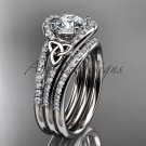 Irish celtic wedding ring Set, Platinum moissanite trinity knot engagement ring CT7317S