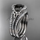 Irish celtic wedding ring Set, 14kt white gold Black Diamond trinity knot engagement ring CT7317S