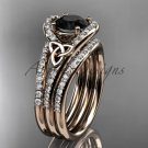 Irish celtic wedding ring Set, 14kt rose gold Black Diamond trinity knot engagement ring CT7317S
