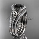 Irish celtic wedding ring Set, platinum Black Diamond trinity knot engagement ring CT7317S