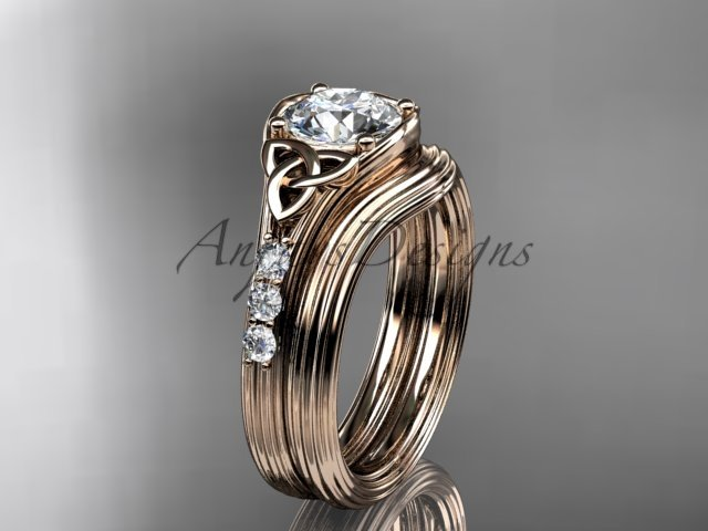 Celtic wedding sets, 14kt rose gold diamond triquetra knot engagement ring CT7333S