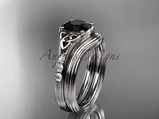 Black Diamond Celtic wedding sets, 14kt white gold diamond triquetra knot engagement ring CT7333S