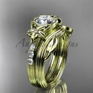Flower wedding sets, 14kt yellow gold diamond floral engagement ring ADLR333S