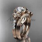 Forever One Moissanite Flower wedding sets, 14kt rose gold diamond floral engagement ring ADLR333S