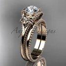 Flower wedding set 14k rose gold engagement ring ADLR375S