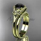 Black Diamond Flower wedding set 14k yellow gold engagement ring ADLR375S
