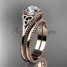 Celtic knot wedding rings sets 14k rose gold engagement ring CT7375S