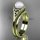 Pearl Celtic knot bridal sets 14k yellow gold engagement ring CTP7375S