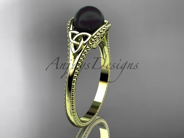 Black pearl celtic knot engagement ring 14k yellow gold bridal ring CTBP7375