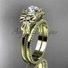 Moissanite wedding set 14k yellow gold bow engagement ring ADLR376S