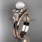 Bow wedding set 14k rose  gold pearl engagement ring AP376S