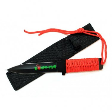 """11"""" ZOMBIE WAR RED CORD WRAPPED HANDLE HUNTING KNIFE WITH SHEATH  Sku : 7586"""