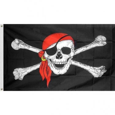 3X5 SUPER POLYESTER RED BANDANA PIRATE FLAG INDOOR OUTDOOR Sku : 7172
