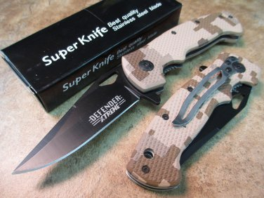 "7.5"" MINI FOLDING KNIFE BROWN HANDLE WITH CLIP Sku : 6456"