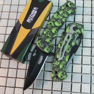 "7.5"" MINI FOLDING  KNIFE GREEN SKULL HANDLE DESIGN WITH CLIP Sku : 6458"