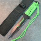 "11"" ZOMBIE WAR GREEN CORD WRAPPED HANDLE HUNTING KNIFE WITH SHEATH Sku : 7588"