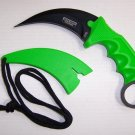 "7.5"" ZOMBIE GREEN KARAMBIT HUNTING KNIFE WITH SHEATH Sku : 6753 Code-Keke Cooper"