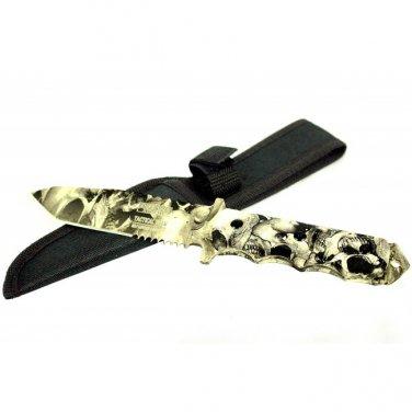 "9"" DEFENDER-XTREME HUNTING KNIFE BLACK AND WHITE SKULL DESIGN Sku : 7696"