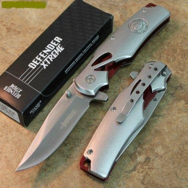 """8"""" DEFENDER GREY FOLDING  KNIFE WITH BELT CLIP Sku : 7656"""