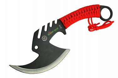 """More Views   11.5"""" ZOMB-WAR TACTICAL AXE STAINLESS STEEL RED Sku : 8126"""
