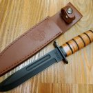 USMC Combat Knife – Stacked Leather Handle, Officially Licensed [17 UC3092]