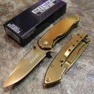 """6.5"""" Defender Xtreme  Gold Colored Knife with Belt Clip  SKU:9048"""