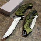 "9"" Green & Silver Stainless Steel Blade  Pocket Knife Metal Handle W/ Glass Breaker SKU:7310"