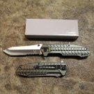 """8.5"""" Silver Blade Stainless Steel  Grey Handle Knife with Clip SKU:7306"""
