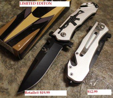 """Gray 8"""" Heavy Duty Folding  Knife w/ Gun Design SKU:5980"""