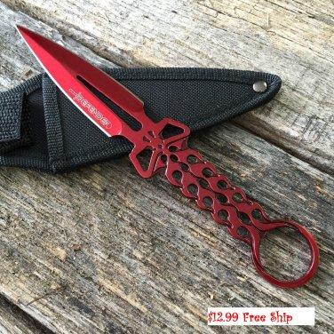 """8"""" Defender Red Skull Knife with Sheath SKU:8208"""