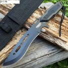 "Full Tang 12"" Black Blade Combat Ready Hunting Knife With Sheath 6702"