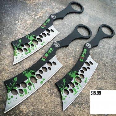 "3PC 8"" ZOMBIE THROWING KNIVES Ninja Tactical Combat Naruto Kunai Set w/ Sheath Code-Keke Cooper"