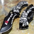 "8.5"" Zombie War Colletion Grey Folding  Knife with Belt Clip SKU:7510"