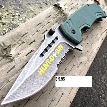 """8"""" HUNT-DOWN Military Tactical Spring Assisted Open Pocket Combat Knife EDC -a"""