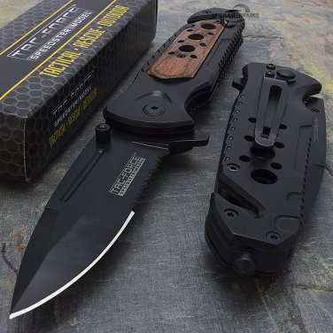 "8"" WOOD TAC FORCE SPRING ASSISTED TACTICAL FOLDING KNIFE"
