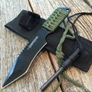 Survival Camping Hunting Knife Black Blade w/ Steel Flint Fire Starter w/ Sheath