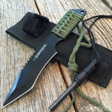 Survival Camping Hunting Knife Black Blade w/ Steel Flint Fire Starter w/ Sheath