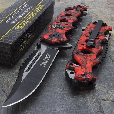 "8.25"" RED SKULLS SPRING ASSISTED TACTICAL CODE-  Matt Eno Williams"