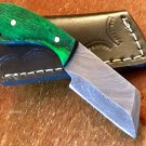 BEAUTIFUL MINI CUSTOM DAMASCUS STEEL CLEAVER HUNTING KNIFE