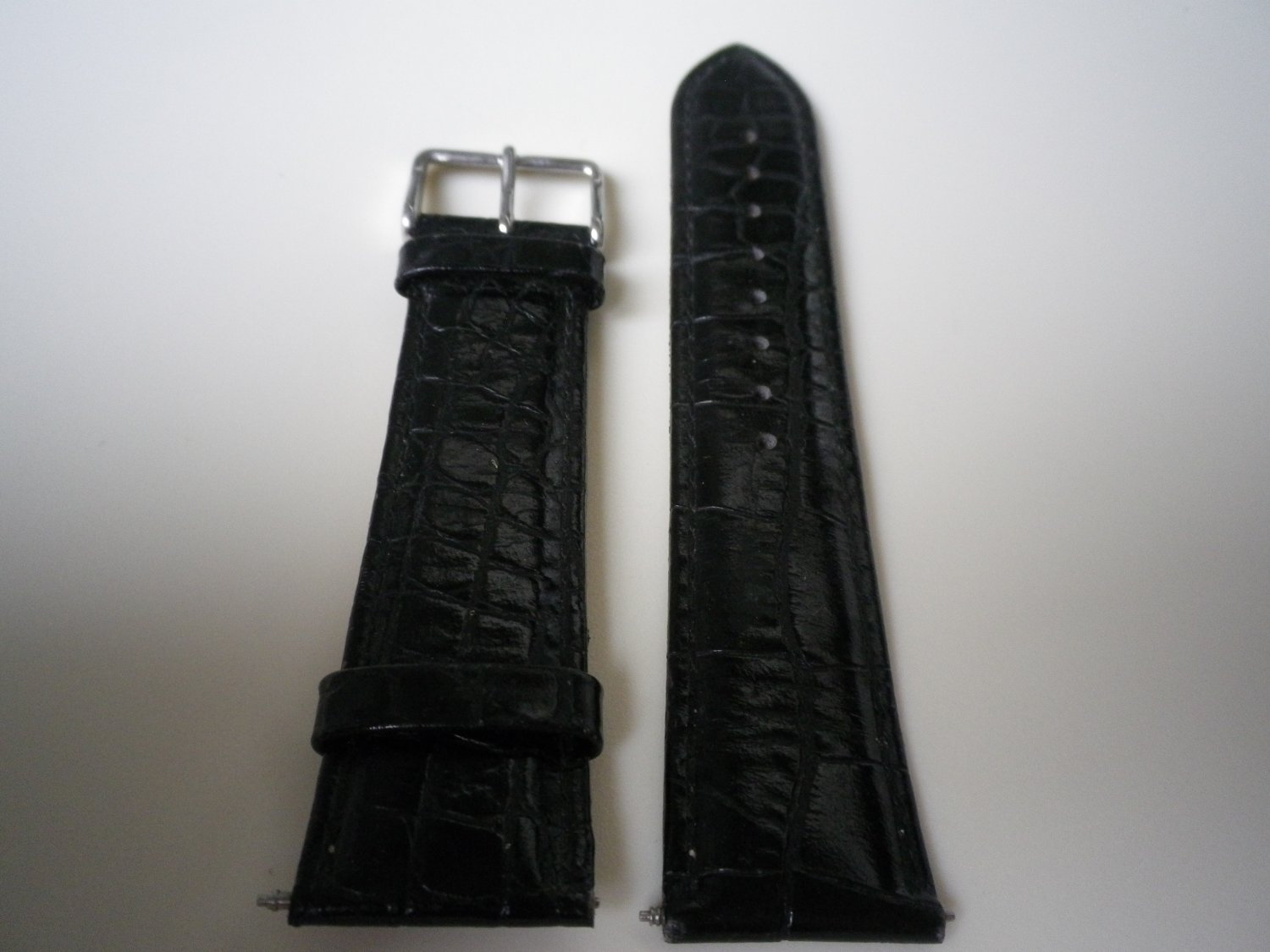 22mm Black Leather Men Watch Band Strap