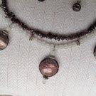Rose Quartz & Garnet necklace featuring 3 Garnet Gold Foil Beads
