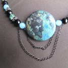 Fancy Jasper pendant with blue, green & black beaded necklace