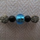 Gold foil Aquamarine bead, 2 Onyx beads & antique silver necklace
