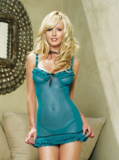 2 Piece Mesh Ruffle Chemise with Ribbon Trim